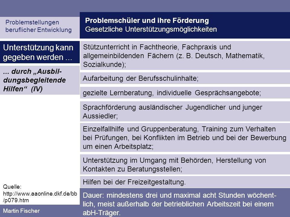 Problemschüler und ihre Förderung Gesetzliche Unterstützungsmöglichkeiten Problemstellungen beruflicher Entwicklung Martin Fischer Unterstützung kann gegeben werden......