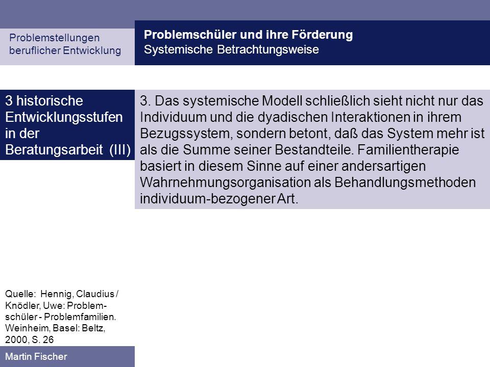 Problemschüler und ihre Förderung Systemische Betrachtungsweise Problemstellungen beruflicher Entwicklung Martin Fischer 3 historische Entwicklungsstufen in der Beratungsarbeit (III) 3.
