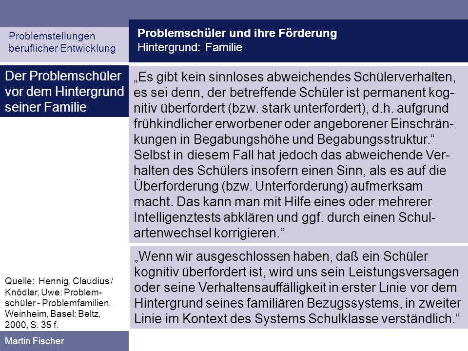 Problemschüler und ihre Förderung Hintergrund: Familie Problemstellungen beruflicher Entwicklung Martin Fischer Schulprobleme.