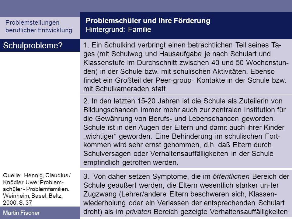 Problemschüler und ihre Förderung Hintergrund: Familie Problemstellungen beruflicher Entwicklung Martin Fischer Funktion und Bedeutung von Symptomen aus systemischer Sicht 1.