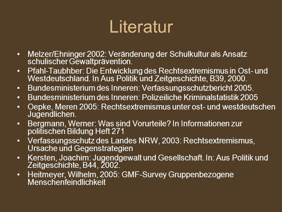 Literatur Melzer/Ehninger 2002: Veränderung der Schulkultur als Ansatz schulischer Gewaltprävention. Pfahl-Taubhber: Die Entwicklung des Rechtsextremi