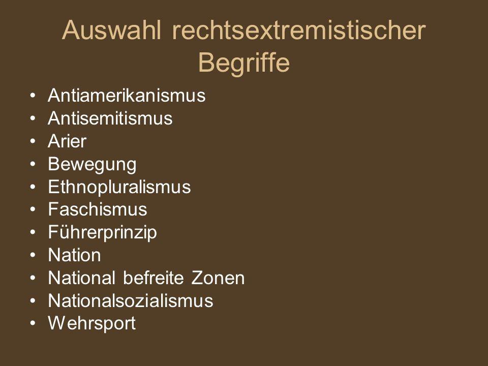 Auswahl rechtsextremistischer Begriffe Antiamerikanismus Antisemitismus Arier Bewegung Ethnopluralismus Faschismus Führerprinzip Nation National befreite Zonen Nationalsozialismus Wehrsport