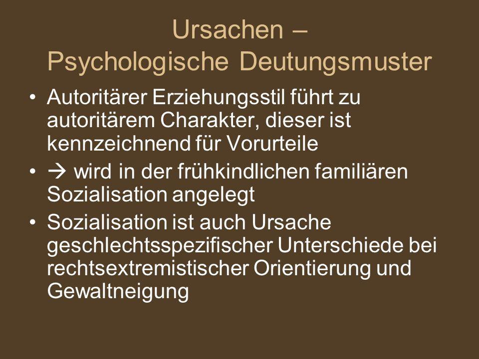 Ursachen – Psychologische Deutungsmuster Autoritärer Erziehungsstil führt zu autoritärem Charakter, dieser ist kennzeichnend für Vorurteile wird in der frühkindlichen familiären Sozialisation angelegt Sozialisation ist auch Ursache geschlechtsspezifischer Unterschiede bei rechtsextremistischer Orientierung und Gewaltneigung