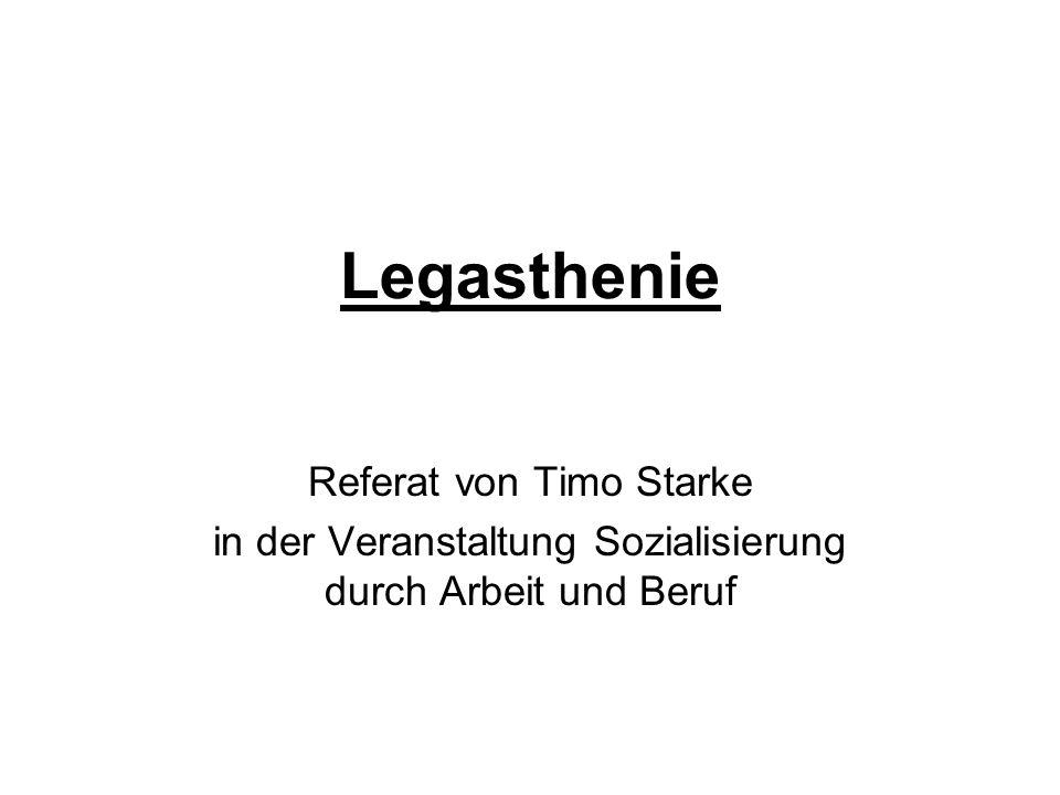 Legasthenie Referat von Timo Starke in der Veranstaltung Sozialisierung durch Arbeit und Beruf