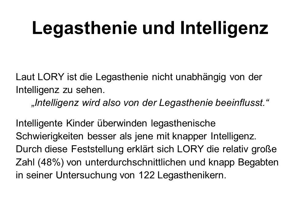 Legasthenie und Intelligenz Laut LORY ist die Legasthenie nicht unabhängig von der Intelligenz zu sehen. Intelligenz wird also von der Legasthenie bee