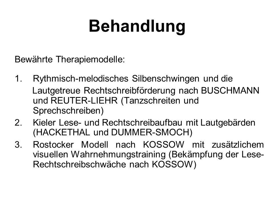 Behandlung Bewährte Therapiemodelle: 1.Rythmisch-melodisches Silbenschwingen und die Lautgetreue Rechtschreibförderung nach BUSCHMANN und REUTER-LIEHR