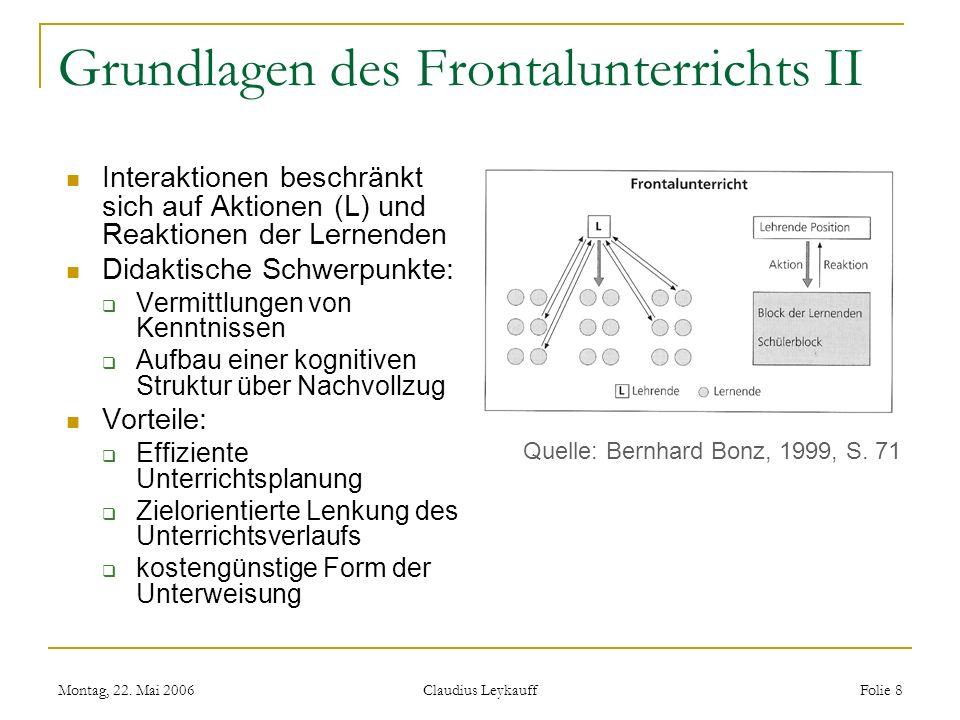Montag, 22. Mai 2006 Claudius Leykauff Folie 8 Grundlagen des Frontalunterrichts II Interaktionen beschränkt sich auf Aktionen (L) und Reaktionen der