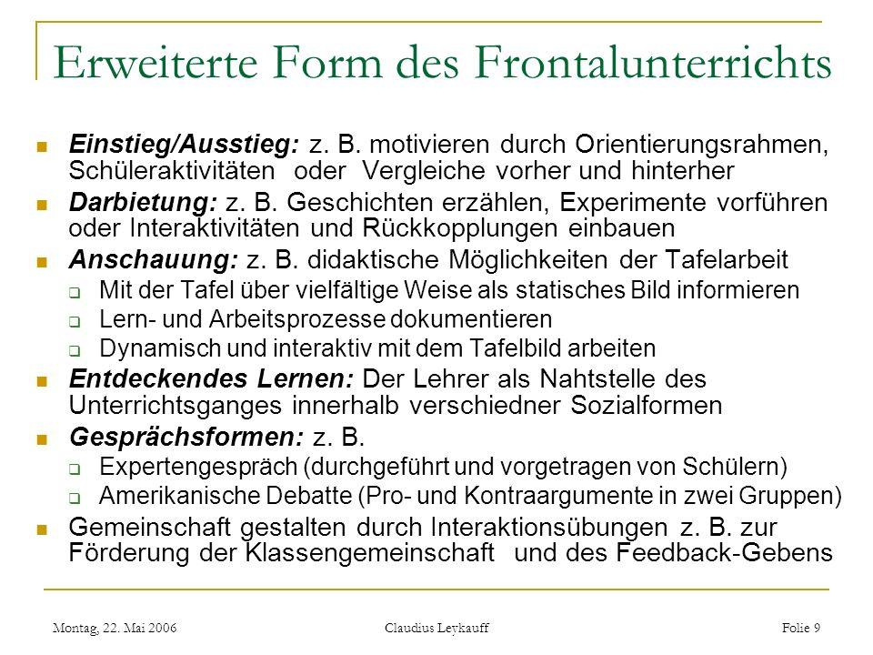 Montag, 22. Mai 2006 Claudius Leykauff Folie 9 Erweiterte Form des Frontalunterrichts Einstieg/Ausstieg: z. B. motivieren durch Orientierungsrahmen, S
