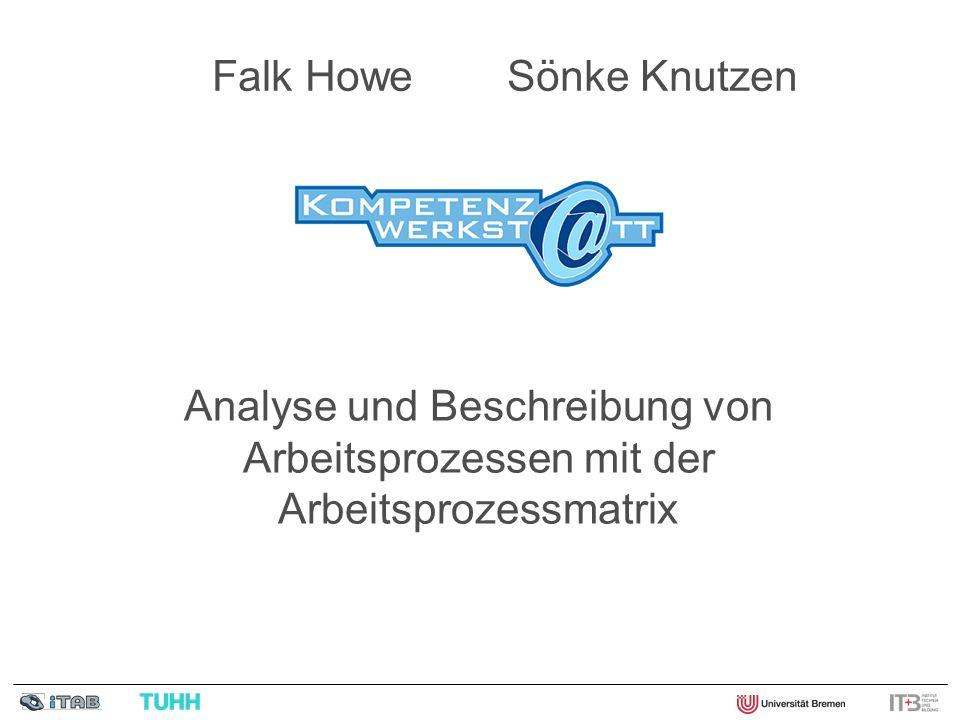 Die Arbeitsprozessmatrix - ein berufswissenschaftliches Instrument Stufe 1: Beschreibung handwerklicher Arbeitsprozesse (Hägele 2000) Stufe 2: Arbeitsprozessmatrix (Knutzen / Hägele 2002) Stufe 3: Datenbankgestützte Arbeitsprozessmatrix (Knutzen / Howe 2005) Stufe 4: Kompetenzwerkst@tt-Arbeitsprozessmatrix (Knutzen / Howe 2008)