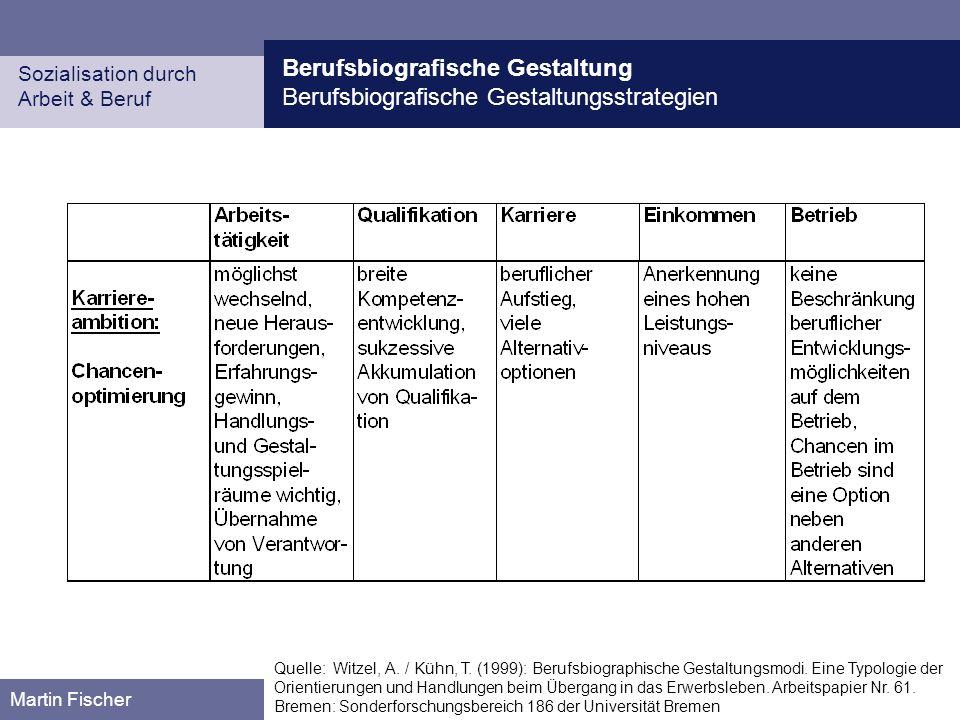Berufsbiografische Gestaltung Berufsbiografische Gestaltungsstrategien Sozialisation durch Arbeit & Beruf Martin Fischer Quelle: Witzel, A.