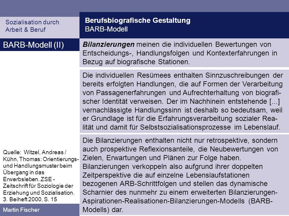 Berufsbiografische Gestaltung BARB-Modell Sozialisation durch Arbeit & Beruf Martin Fischer BARB-Modell (II) Quelle: Witzel, Andreas / Kühn, Thomas: Orientierungs- und Handlungsmuster beim Übergang in das Erwerbsleben.