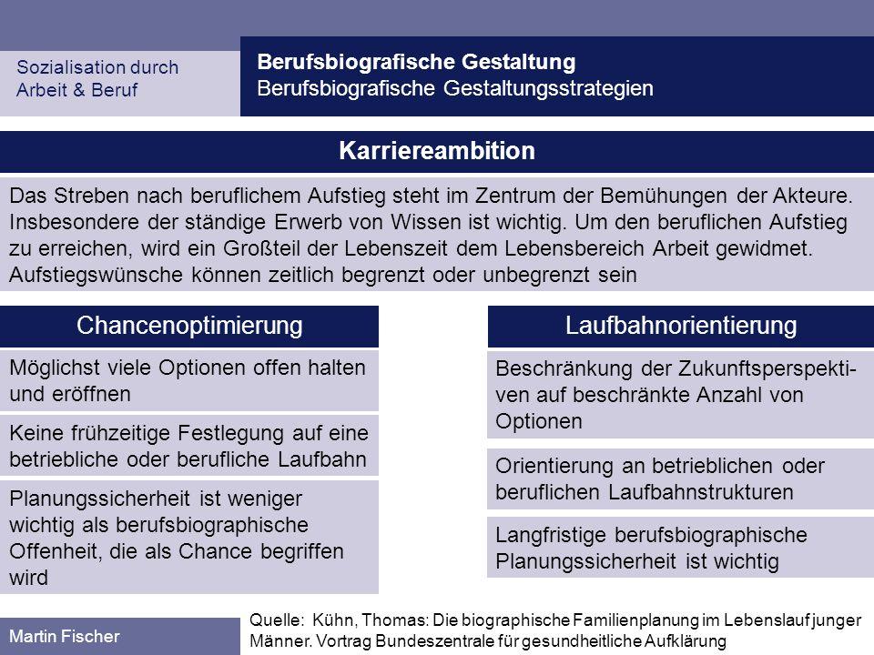 Berufsbiografische Gestaltung Berufsbiografische Gestaltungsstrategien Sozialisation durch Arbeit & Beruf Martin Fischer Karriereambition Das Streben nach beruflichem Aufstieg steht im Zentrum der Bemühungen der Akteure.