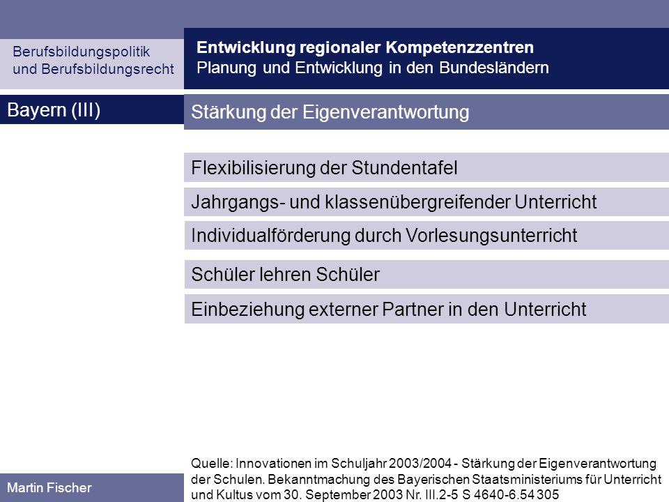 Entwicklung regionaler Kompetenzzentren Planung und Entwicklung in den Bundesländern Berufsbildungspolitik und Berufsbildungsrecht Martin Fischer Baye