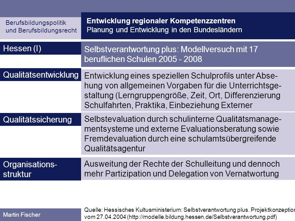 Entwicklung regionaler Kompetenzzentren Planung und Entwicklung in den Bundesländern Berufsbildungspolitik und Berufsbildungsrecht Martin Fischer Hess