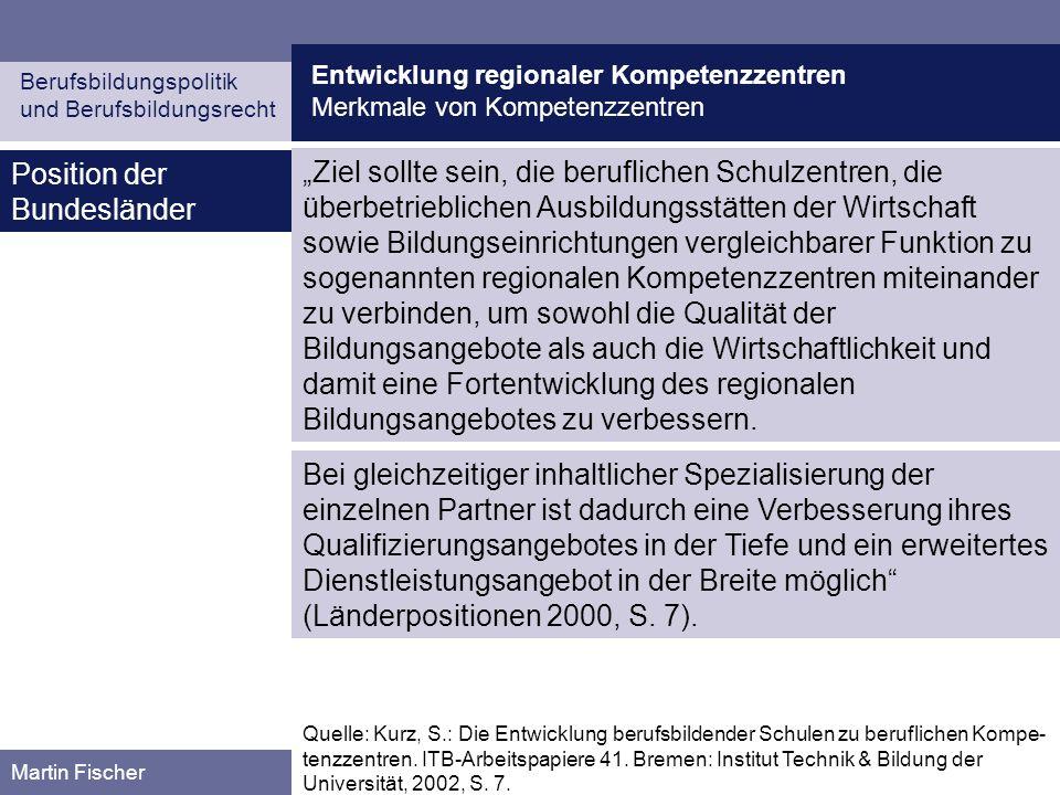 Entwicklung regionaler Kompetenzzentren Berufsbildungspolitik und Berufsbildungsrecht Martin Fischer Thesen zur Diskussion (I) Umfassende Autonomie wird den beruflichen Schulen nirgendwo eingeräumt, denn sie haben einen staatlichen (Bildungs-)Auftrag zu versehen, über den sie nicht autonom hinwegsehen können.