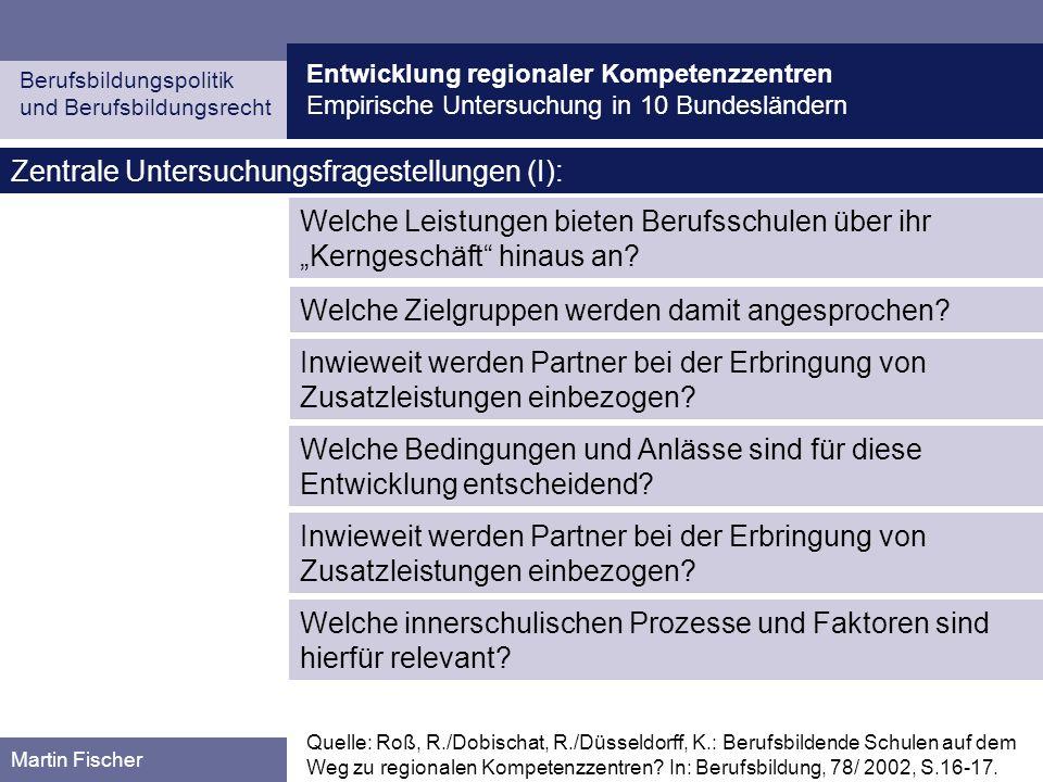 Entwicklung regionaler Kompetenzzentren Empirische Untersuchung in 10 Bundesländern Berufsbildungspolitik und Berufsbildungsrecht Martin Fischer Zentr