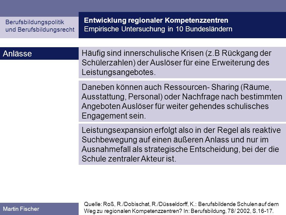 Entwicklung regionaler Kompetenzzentren Empirische Untersuchung in 10 Bundesländern Berufsbildungspolitik und Berufsbildungsrecht Martin Fischer Anläs