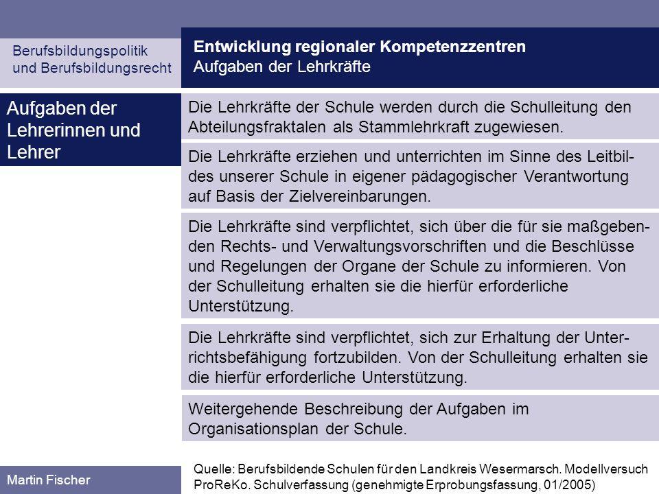 Entwicklung regionaler Kompetenzzentren Aufgaben der Lehrkräfte Berufsbildungspolitik und Berufsbildungsrecht Martin Fischer Aufgaben der Lehrerinnen