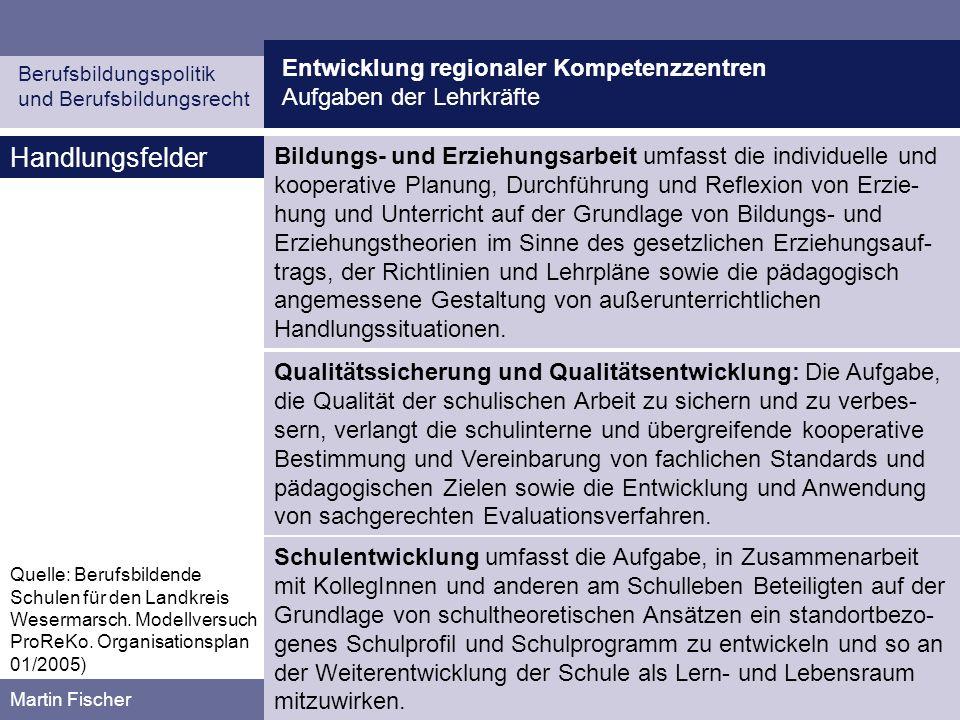 Entwicklung regionaler Kompetenzzentren Aufgaben der Lehrkräfte Berufsbildungspolitik und Berufsbildungsrecht Martin Fischer Handlungsfelder Quelle: B