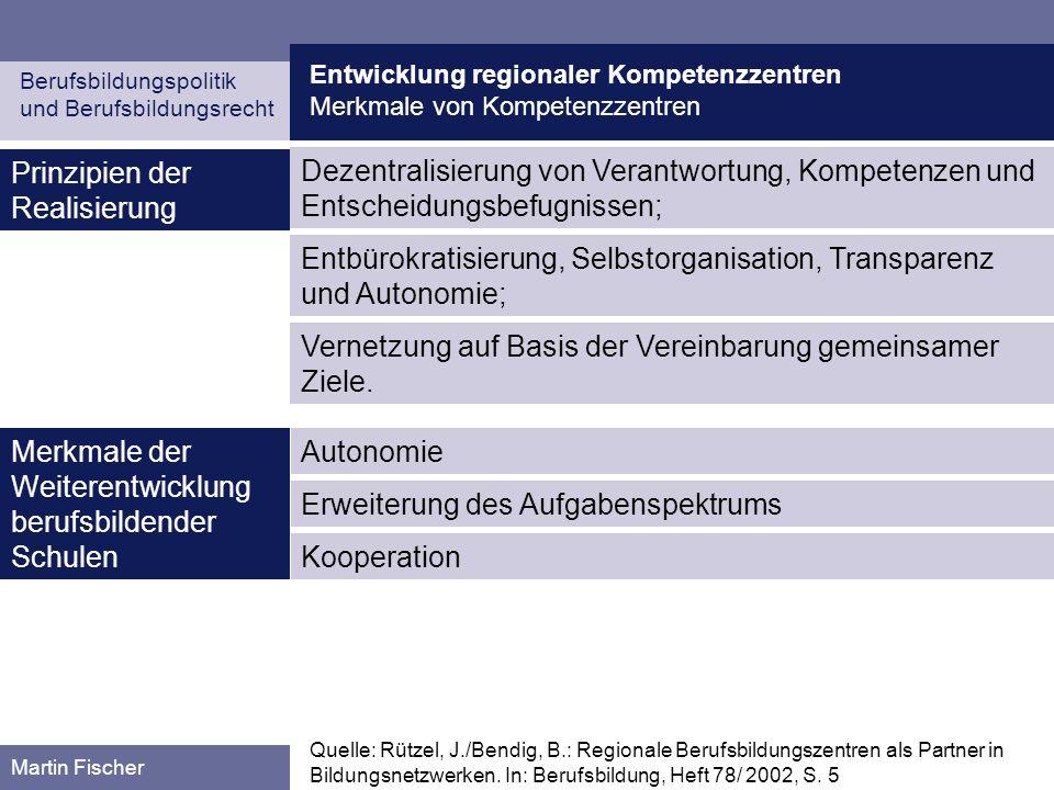 Entwicklung regionaler Kompetenzzentren Planung und Entwicklung in den Bundesländern Berufsbildungspolitik und Berufsbildungsrecht Martin Fischer Schleswig-Holstein (I) Quelle: Kurz, S.: Die Entwicklung berufsbildender Schulen zu beruflichen Kompe- tenzzentren.