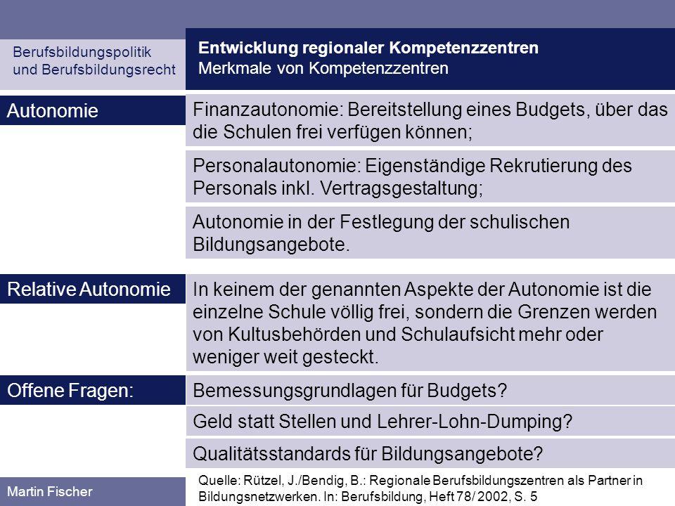 Entwicklung regionaler Kompetenzzentren Merkmale von Kompetenzzentren Berufsbildungspolitik und Berufsbildungsrecht Martin Fischer Autonomie Quelle: R