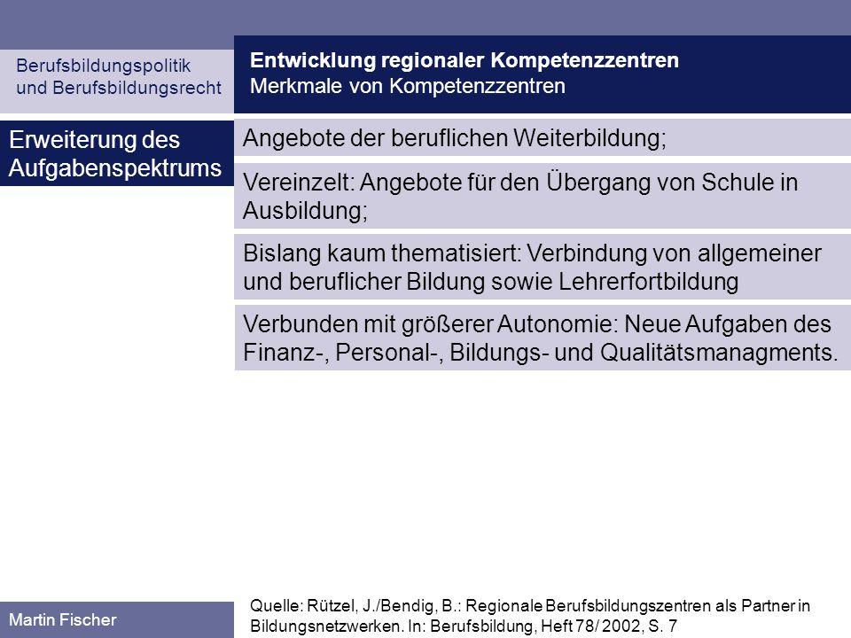 Entwicklung regionaler Kompetenzzentren Merkmale von Kompetenzzentren Berufsbildungspolitik und Berufsbildungsrecht Martin Fischer Erweiterung des Auf