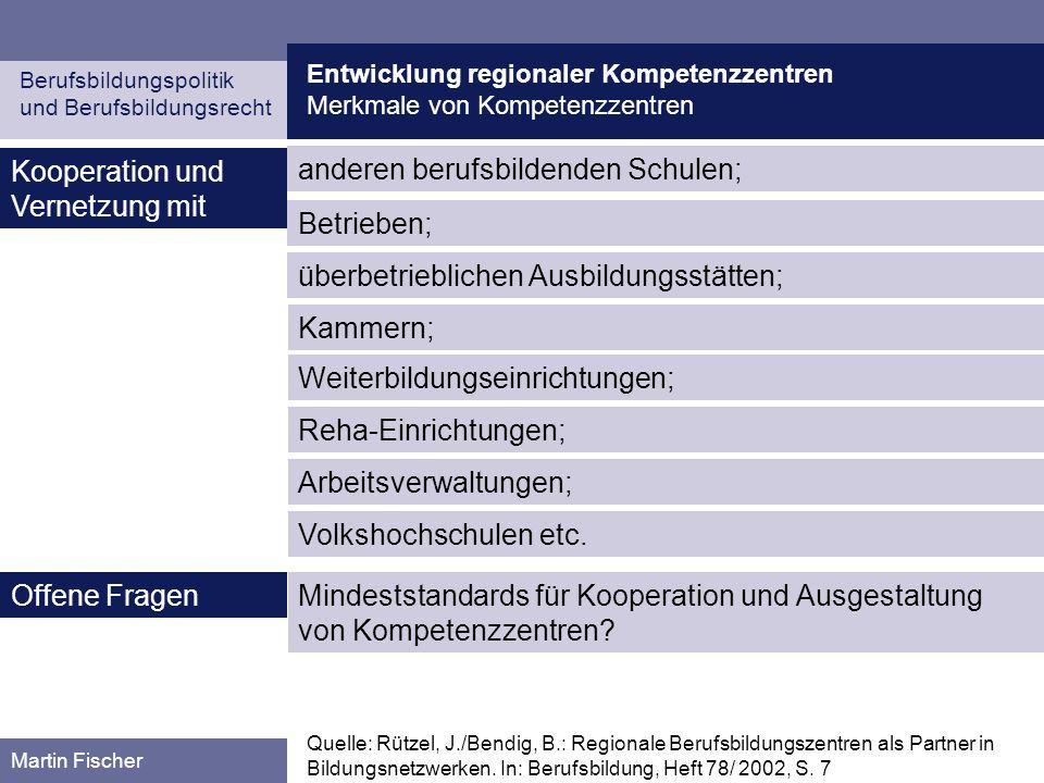 Entwicklung regionaler Kompetenzzentren Planung und Entwicklung in den Bundesländern Berufsbildungspolitik und Berufsbildungsrecht Martin Fischer Bayern (I) Quelle: Kurz, S.: Die Entwicklung berufsbildender Schulen zu beruflichen Kompe- tenzzentren.