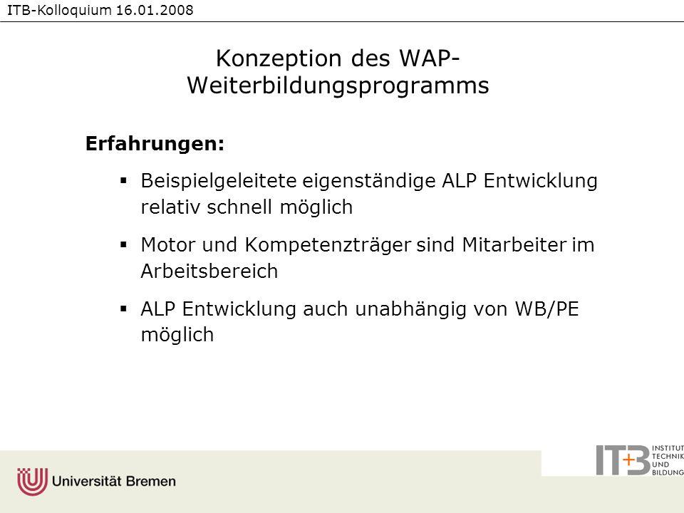 ITB-Kolloquium 16.01.2008 Konzeption des WAP- Weiterbildungsprogramms Erfahrungen: Beispielgeleitete eigenständige ALP Entwicklung relativ schnell mög