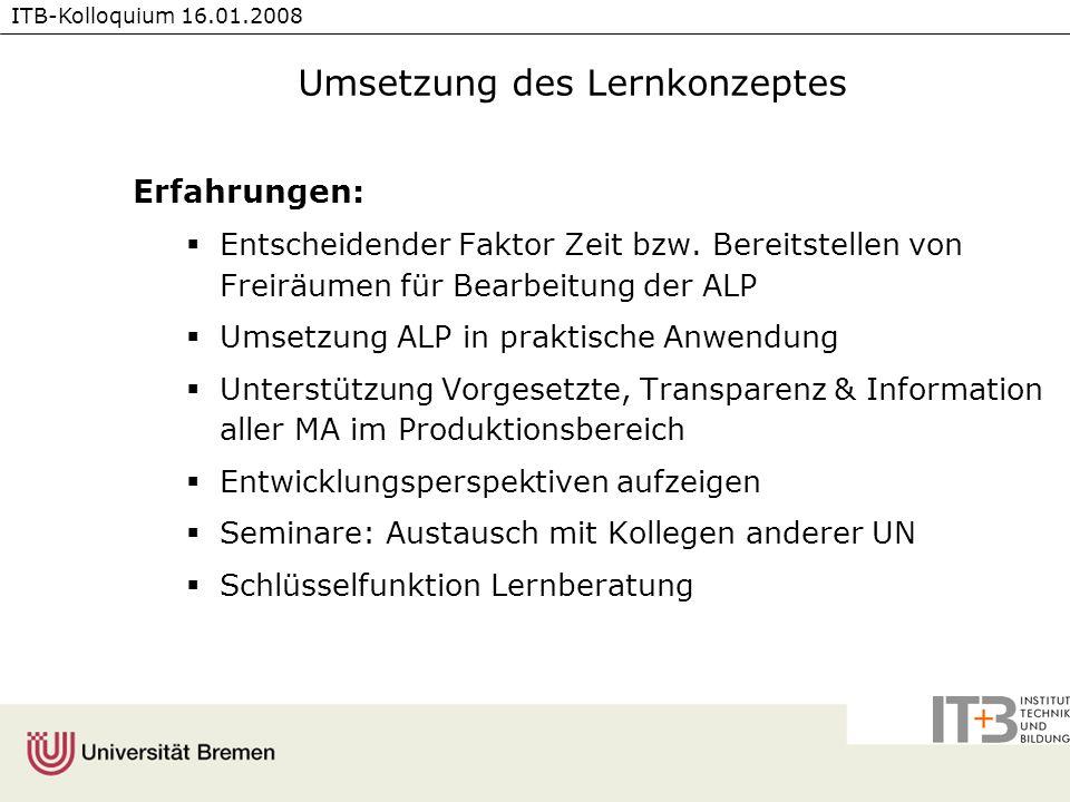 ITB-Kolloquium 16.01.2008 Umsetzung des Lernkonzeptes Erfahrungen: Entscheidender Faktor Zeit bzw. Bereitstellen von Freiräumen für Bearbeitung der AL