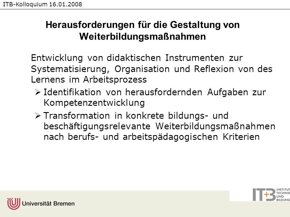 ITB-Kolloquium 16.01.2008 Herausforderungen für die Gestaltung von Weiterbildungsmaßnahmen Entwicklung von didaktischen Instrumenten zur Systematisier