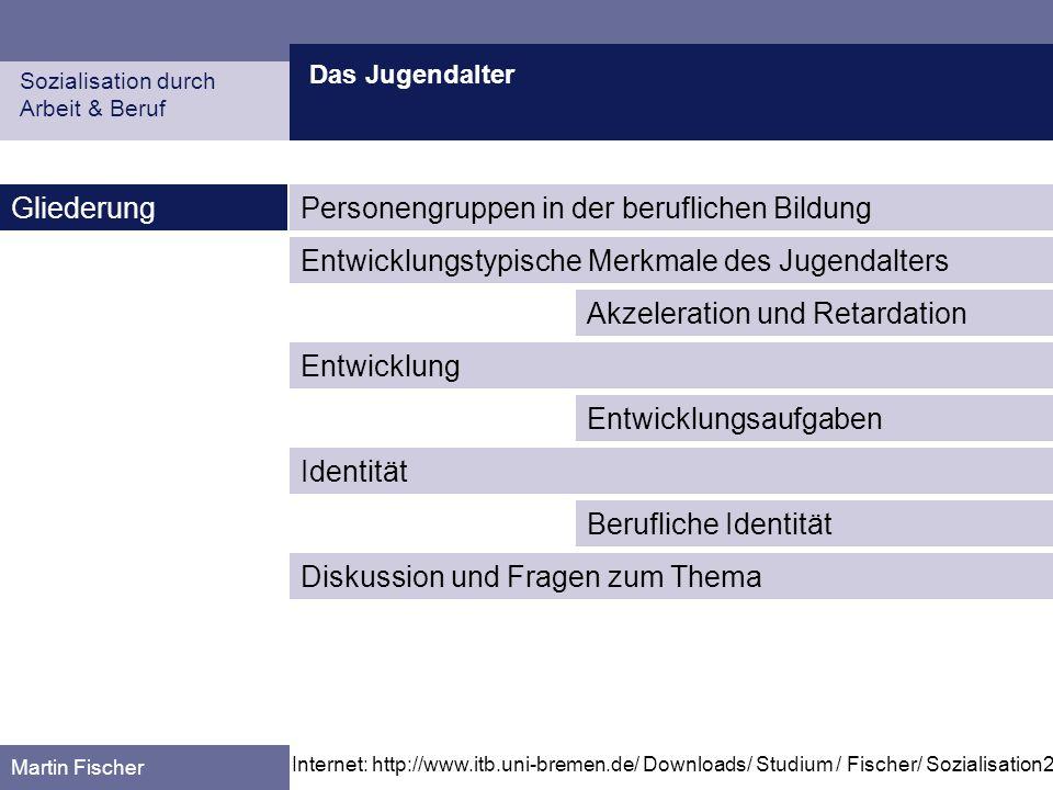 Das Jugendalter Personengruppen in der beruflichen Bildung Sozialisation durch Arbeit & Beruf Martin Fischer Quelle: Arnold, R.