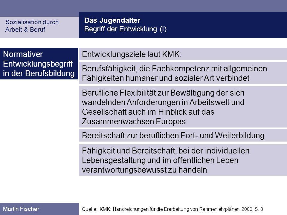 Das Jugendalter Begriff der Entwicklung (I) Sozialisation durch Arbeit & Beruf Martin Fischer Quelle: KMK: Handreichungen für die Erarbeitung von Rahm