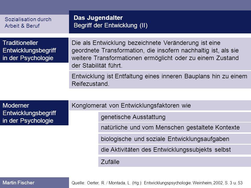 Das Jugendalter Begriff der Entwicklung (II) Sozialisation durch Arbeit & Beruf Martin Fischer Quelle: Oerter, R. / Montada, L. (Hg.): Entwicklungspsy