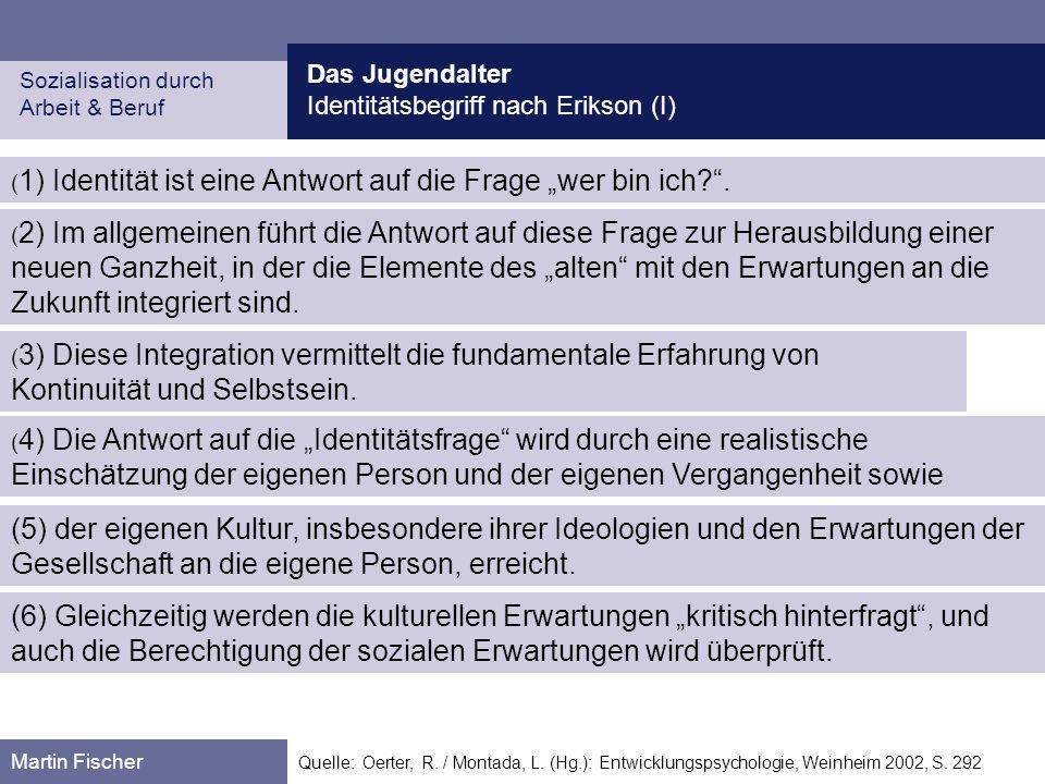 Das Jugendalter Identitätsbegriff nach Erikson (I) Sozialisation durch Arbeit & Beruf Martin Fischer Quelle: Oerter, R. / Montada, L. (Hg.): Entwicklu