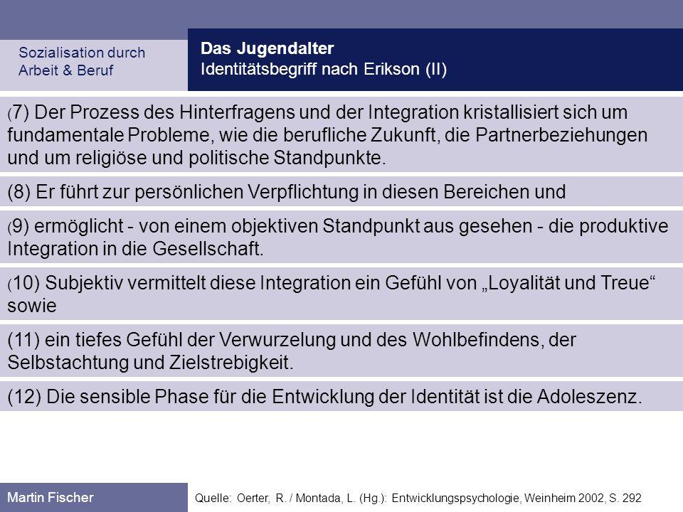Das Jugendalter Identitätsbegriff nach Erikson (II) Sozialisation durch Arbeit & Beruf Martin Fischer Quelle: Oerter, R. / Montada, L. (Hg.): Entwickl