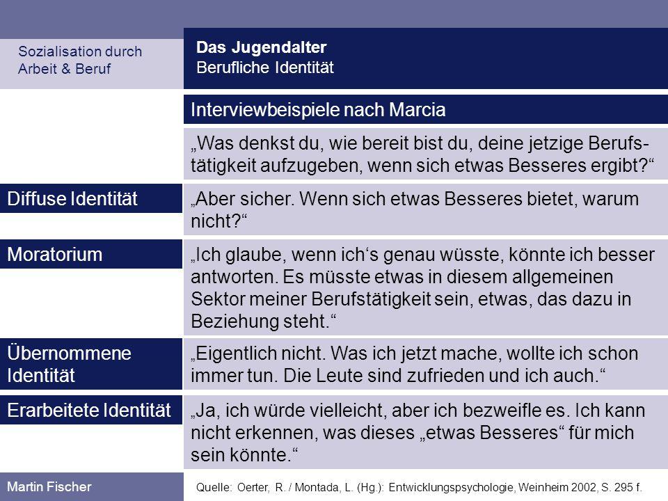 Das Jugendalter Berufliche Identität Sozialisation durch Arbeit & Beruf Martin Fischer Quelle: Oerter, R. / Montada, L. (Hg.): Entwicklungspsychologie