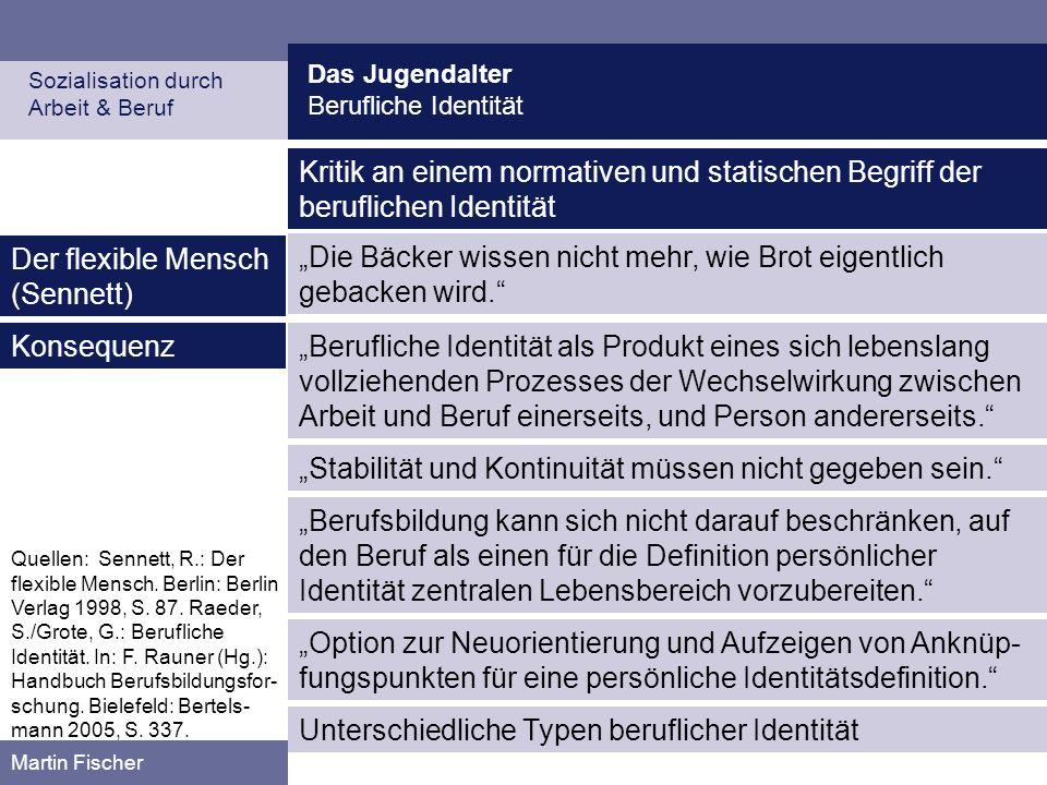 Das Jugendalter Berufliche Identität Sozialisation durch Arbeit & Beruf Martin Fischer Quellen: Sennett, R.: Der flexible Mensch. Berlin: Berlin Verla