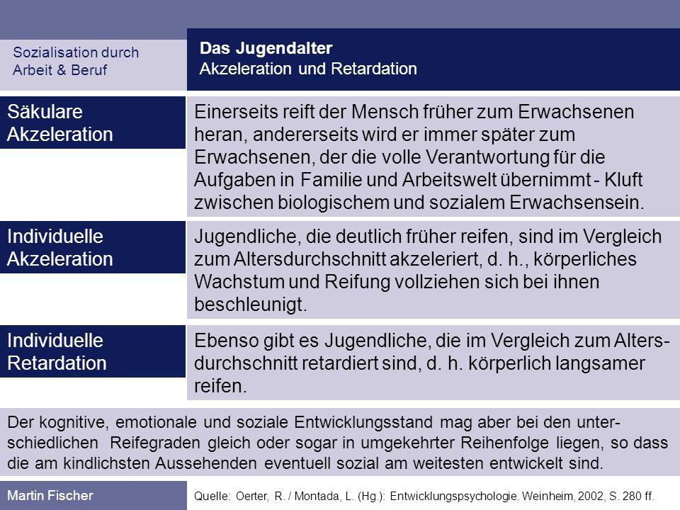 Das Jugendalter Akzeleration und Retardation Sozialisation durch Arbeit & Beruf Martin Fischer Quelle: Oerter, R. / Montada, L. (Hg.): Entwicklungspsy