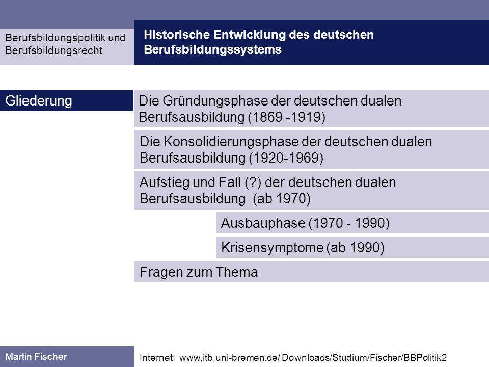 Entwicklung des deutschen Berufsbildungssystems Gründungsphase 1869 - 1919 Berufsbildungspolitik und Berufsbildungsrecht Martin Fischer Quelle: Arnold, Rolf, u.
