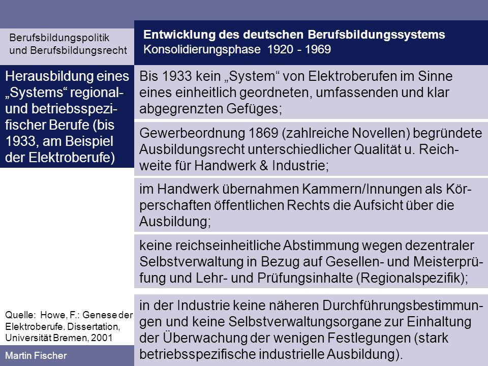 Entwicklung des deutschen Berufsbildungssystems Konsolidierungsphase 1920 - 1969 Berufsbildungspolitik und Berufsbildungsrecht Martin Fischer eine jährliche Lehrlingsquote von 10 bis 12,5 % der Gesamtzahl der beschäftigten Facharbeiter zur Deckung des eigenen Bedarfs, 1912 verabschiedete der DATSCH seine Leitsätze über die Lehrlingserzie-hung in der mechanischen Industrie.