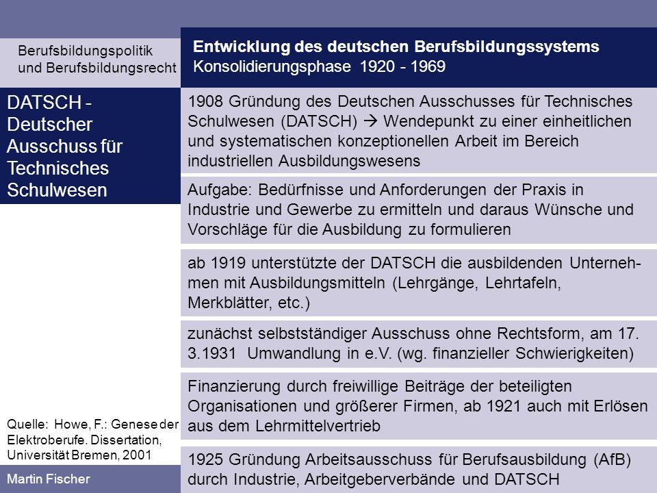 Entwicklung des deutschen Berufsbildungssystems Konsolidierungsphase 1920 - 1969 Berufsbildungspolitik und Berufsbildungsrecht Martin Fischer horizontale Berufsabgrenzung (nach Arbeitsgebieten) durch die Einführung von Berufsbildern mit: Berufskonstruktion durch den AfB ab 1925: Bemühung zur Vereinheit- lichung der industriellen Lehrlingsausbildung Vertikale Berufsabgrenzung (sog.