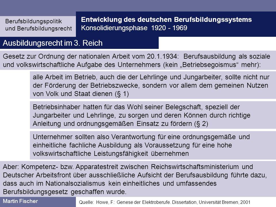 Entwicklung des deutschen Berufsbildungssystems Konsolidierungsphase 1920 - 1969 Berufsbildungspolitik und Berufsbildungsrecht Martin Fischer Etablierung eines Systems einheitlich und reichsweit anerkannter Elektroberufe (1933-1945) Quelle:Quelle: Howe, F.: Genese der Elektroberufe.