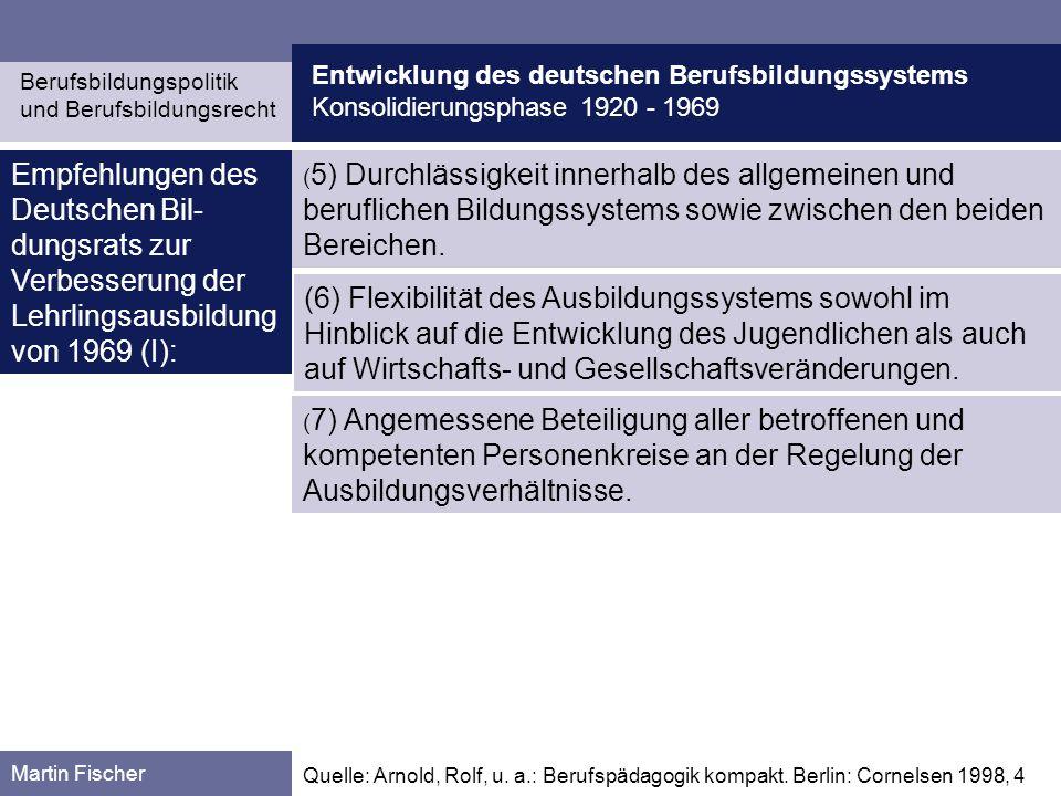 Entwicklung des deutschen Berufsbildungssystems Konsolidierungsphase 1920 - 1969 Berufsbildungspolitik und Berufsbildungsrecht Martin Fischer Quelle: Kaiser, Franz-Josef / Pätzold, Günter (Hg.): Wörterbuch Berufs- und Wirtschaftspädagogik.