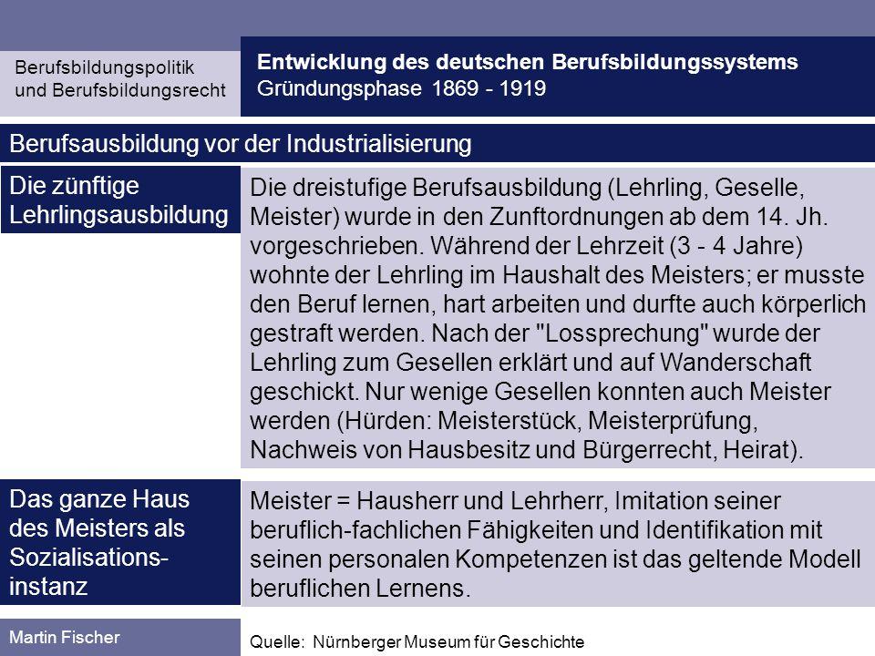 Entwicklung des deutschen Berufsbildungssystems Gründungsphase 1869 - 1919 Berufsbildungspolitik und Berufsbildungsrecht Martin Fischer Quelle: Stratmann, K.: Die gewerbliche Lehrlingserziehung in Deutschland.