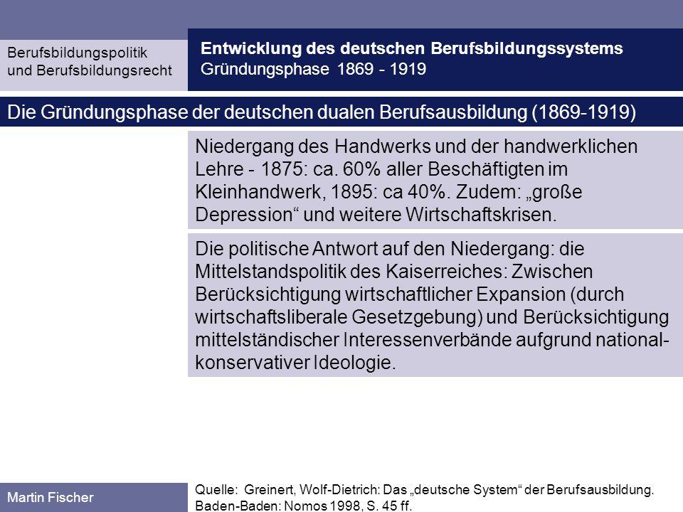 Entwicklung des deutschen Berufsbildungssystems Gründungsphase 1869 - 1919 Berufsbildungspolitik und Berufsbildungsrecht Martin Fischer Quelle: Greinert, Wolf-Dietrich: Das duale System der Berufsausbildung in der Bundesrepublik Deutschland.