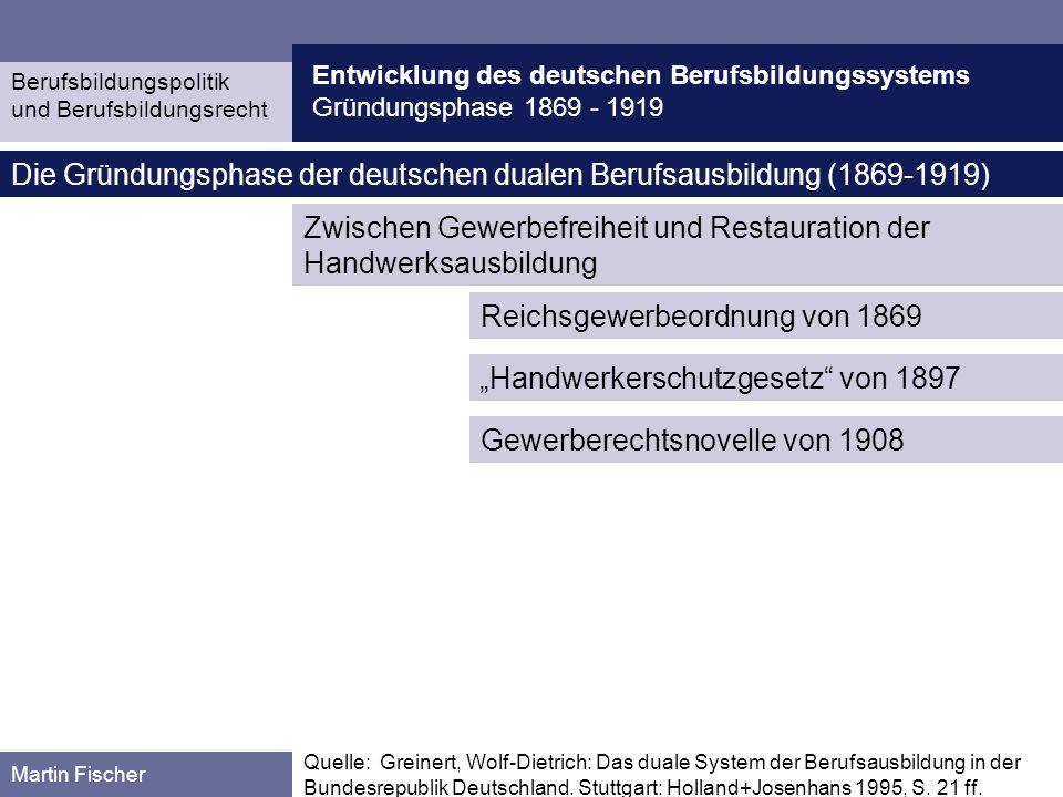 Entwicklung des deutschen Berufsbildungssystems Gründungsphase 1869 - 1919 Berufsbildungspolitik und Berufsbildungsrecht Martin Fischer Quelle: Reichsgewerbe- ordnung von 1869 Reichsgewerbeordn ung von 1869 des norddeutschen Bundes, ab 1871 nationale Gesetzgebung reichseinheitliche Gewerbefreiheit, grundsätzliche Freizügigkeit, Niederlassungs- und Berufsausübungsfreiheit, Gewerbeangelegenheiten als Reichsgesetzgebung Betrieb eines Gewerbes ist Jedermann gestattet (§1), Die Befugnis zum selbstständigen Betriebe eines stehenden Gewerbes begreift das Recht in sich, in beliebiger Zahl Gesellen, Gehülfen, Arbeiter jeder Art und [...] Lehrlinge anzunehmen (§41) Als Lehrling ist jeder zu betrachten, welcher bei einem Lehrherrn zur Erlernung eines Gewerbes in Arbeit tritt, ohne Unterschied, ob die Erlernung gegen Lehrgeld oder unentgeltliche Hülfsleistung stattfindet, oder ob für die Arbeit Lohn gezahlt wird (§ 115).