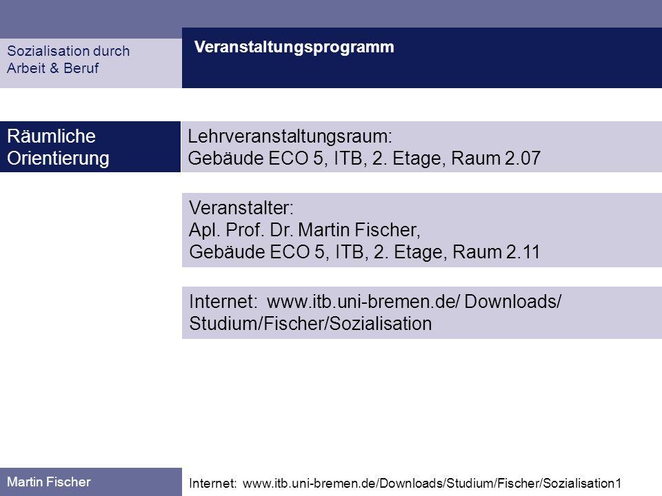 Veranstaltungsprogramm Martin Fischer Internet: www.itb.uni-bremen.de/Downloads/Studium/Fischer/Sozialisation1 Zeitliche Orientierung Sozialisation durch Arbeit & Beruf Sommersemester 2006, 19.