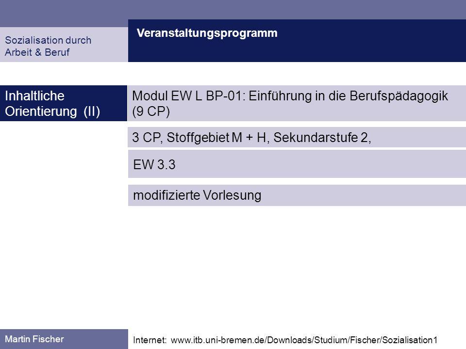 Veranstaltungsprogramm Martin Fischer Internet: www.itb.uni-bremen.de/Downloads/Studium/Fischer/Sozialisation1 Inhaltliche Orientierung (II) Sozialisa