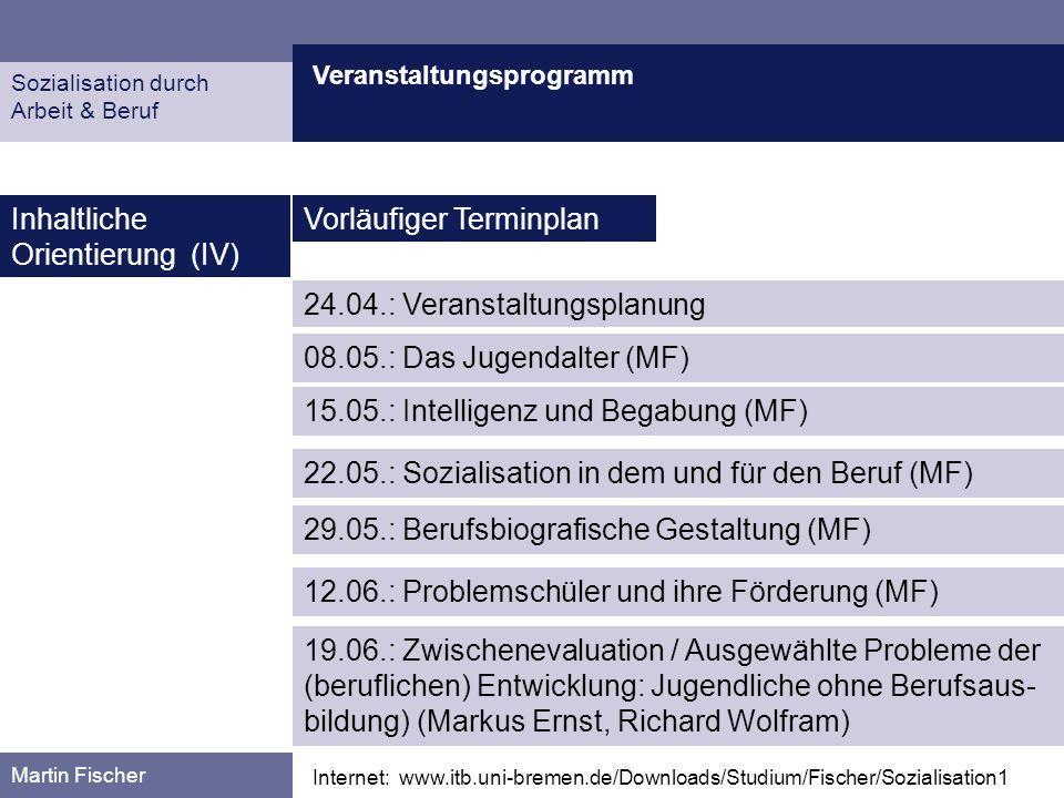Veranstaltungsprogramm Martin Fischer Internet: www.itb.uni-bremen.de/Downloads/Studium/Fischer/Sozialisation1 Inhaltliche Orientierung (IV) Vorläufig