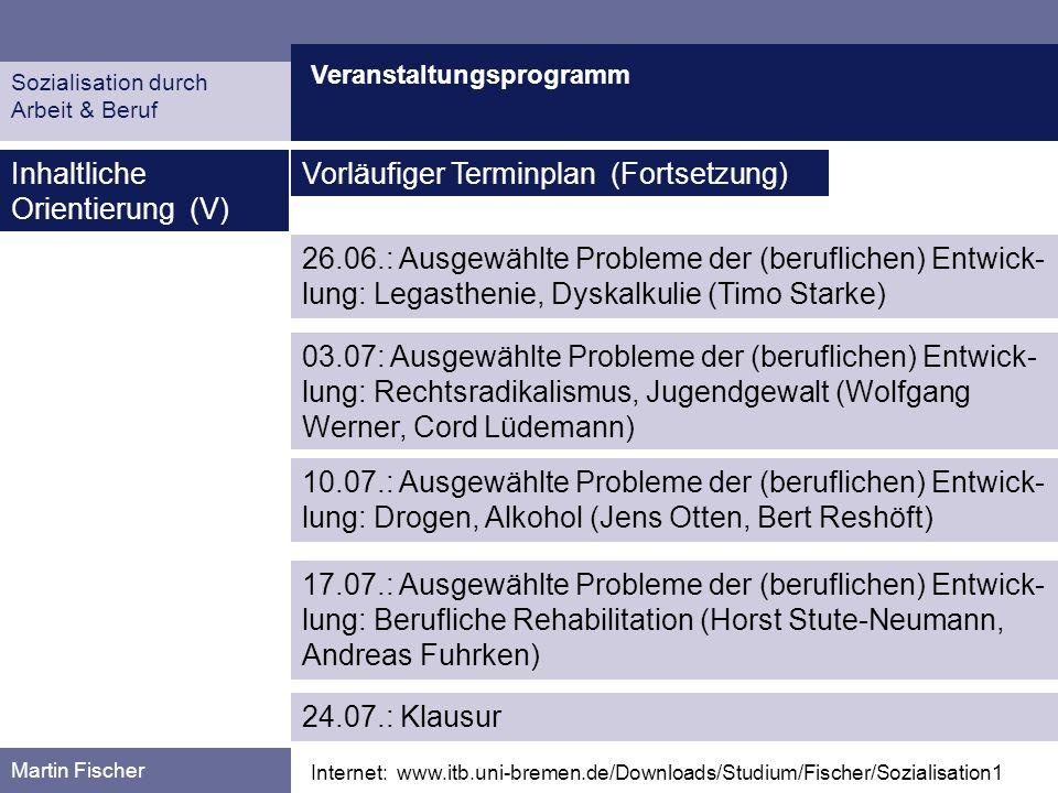 Veranstaltungsprogramm Martin Fischer Internet: www.itb.uni-bremen.de/Downloads/Studium/Fischer/Sozialisation1 Inhaltliche Orientierung (V) Vorläufige